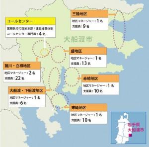 支援員の活動拠点分布図