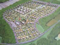 移転計画案。車道が配されたのは外周のみで地区内は歩いて移動する。 裏道づたいに行き来する住民の行動特性を町に表現した。