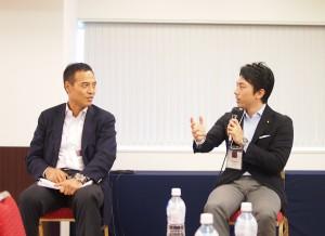 「東の食の実行会議2014」での小泉政務官と新浪ローソン社長のパネルディスカッション