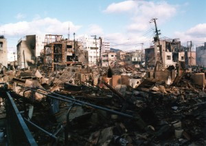 阪神淡路大震災で被災した、神戸市長田区の住宅地