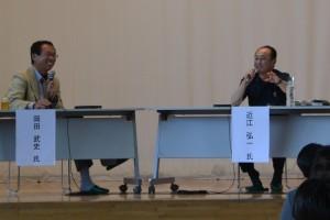 FC今治オーナーの岡田武史氏(左)とコバルトーレ女川GM兼社長の近江弘一氏