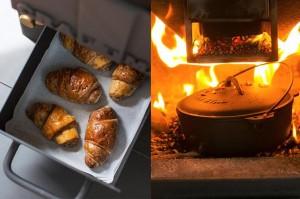 クラフトマンの魅力のひとつが料理に活用できること。灰出しの引き出しでパンを温めたり、ダッチオーブンを入れて煮込みなども