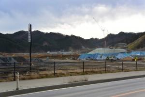 スタジアムの建設が予定されている鵜住居地区(2015年12月撮影)
