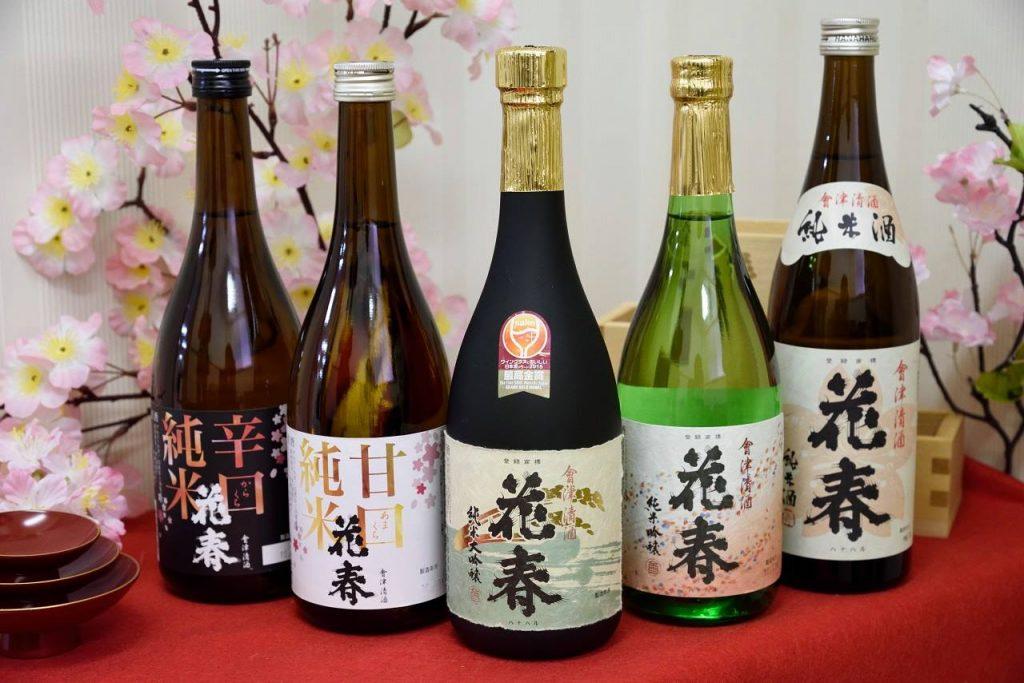左から、辛口純米酒、甘口純米酒、純米大吟醸、純米吟醸、純米酒
